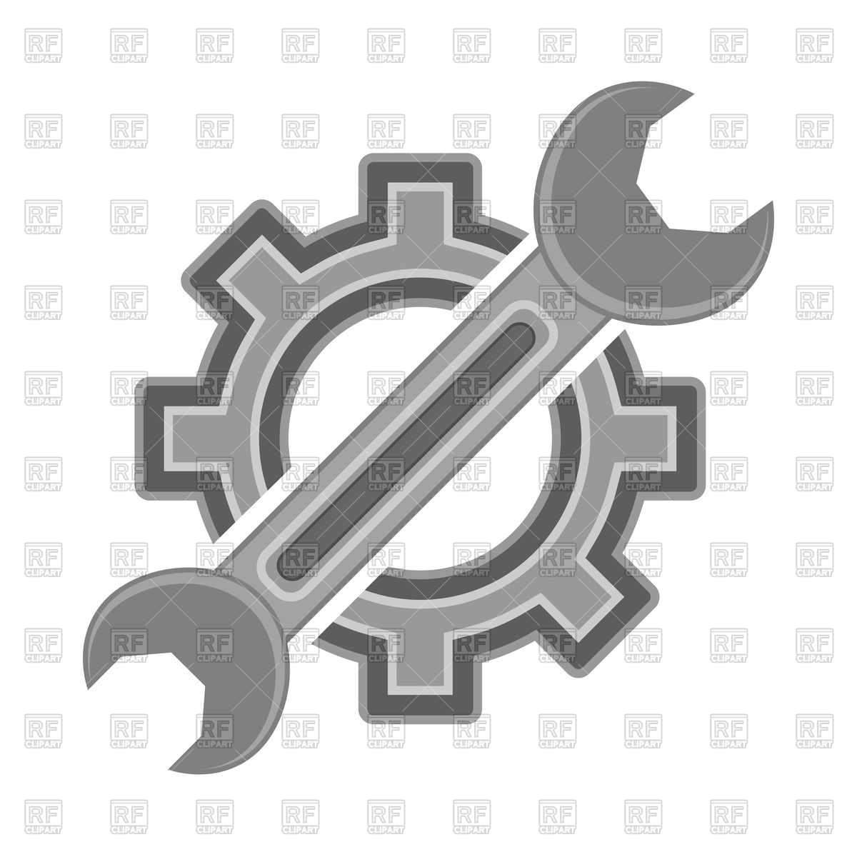 Gear and wrench service icon Stock Vector Image.