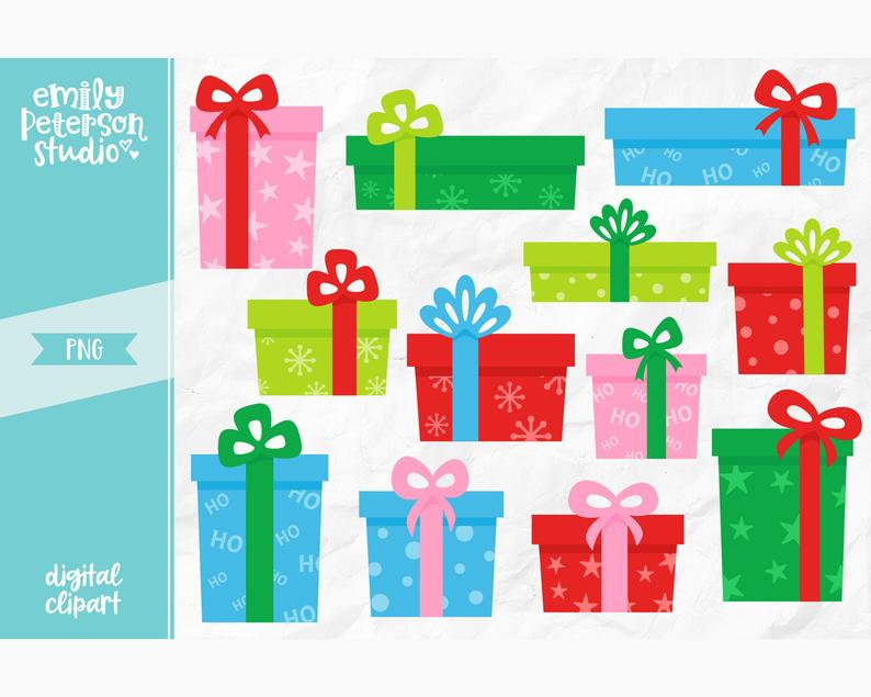 Christmas Clip Art, Christmas Presents Clipart, Holiday Gifts Clip Art.