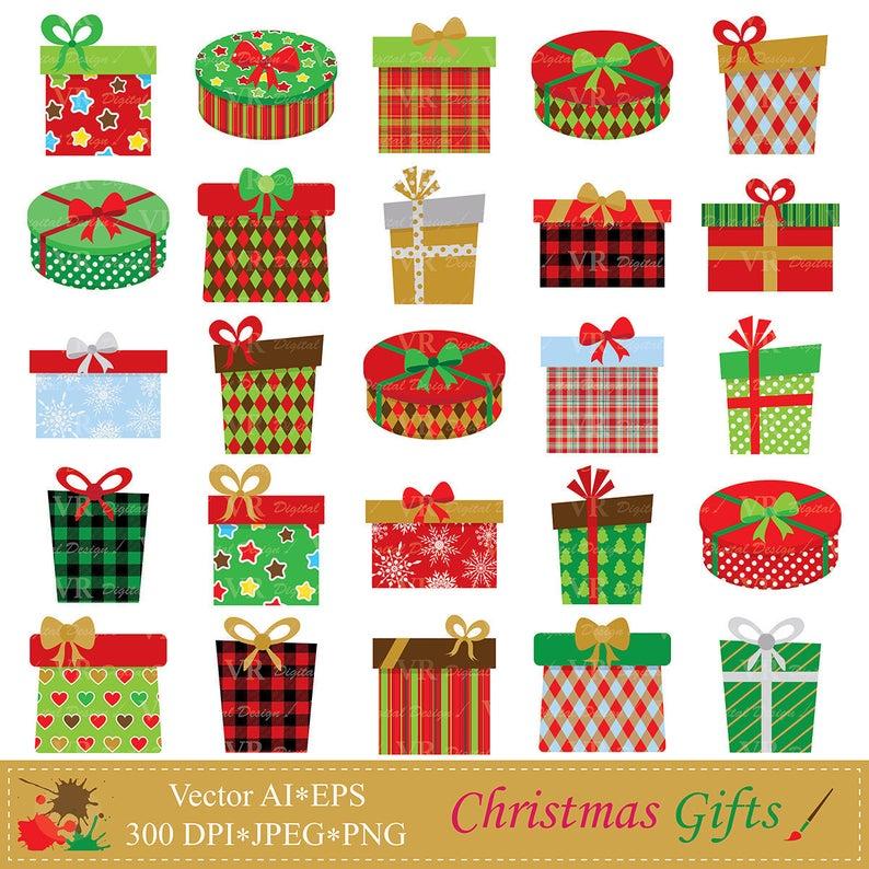 Christmas Gifts Clip Art, Christmas Presents Clipart, Christmas Gift Boxes  Clipart, Digital Download Vector Clip Art.