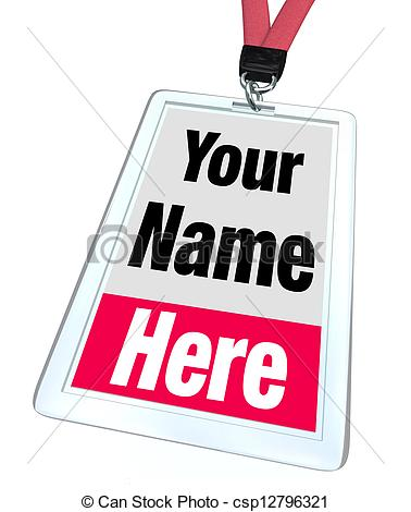 Stock Photo of Your Name Here Badge Lanyard Advertising.
