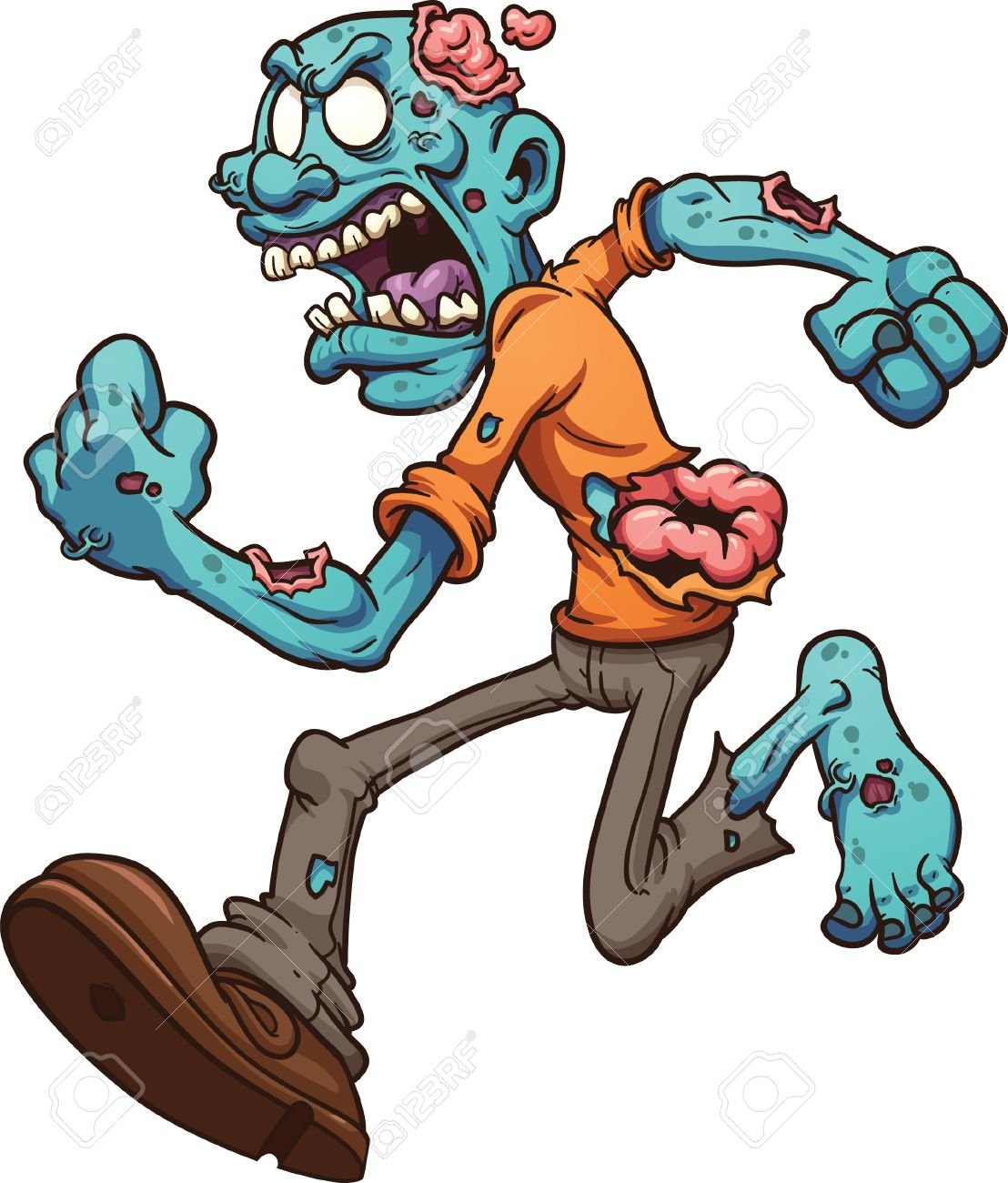 Running Zombie clip art illustration with simple gradients All...