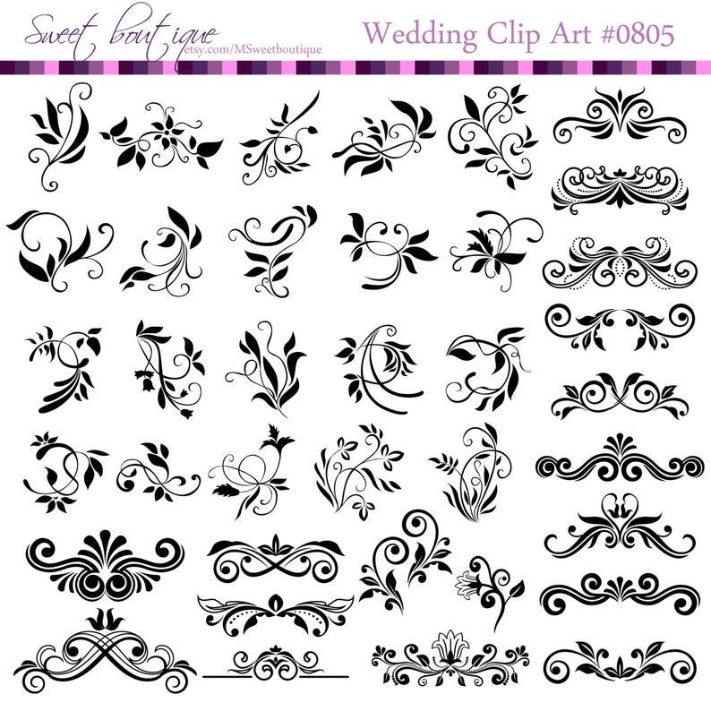 Digital CLIPART, Calligraphy Clip Art, Border Clip art, Frame Clip Arts,  Vintage Clipart, Flourish Swirl Clip Art, Leaves clipart 0805.