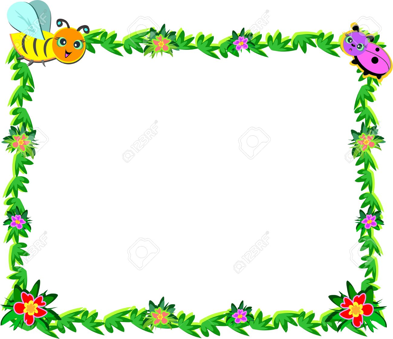 Frame of Bee, Ladybug, Vines, and Flowers.