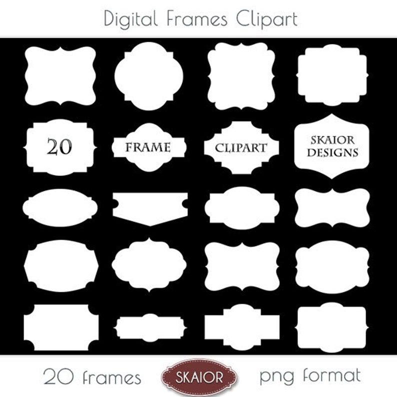 White Frame Clipart Frames Clip Art Border Label Digital Frames  Scrapbooking Invitations Party Logo Design Photo Frame Photography Doodle.