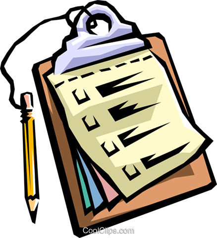Clipboard with pencil Royalty Free Vector Clip Art.