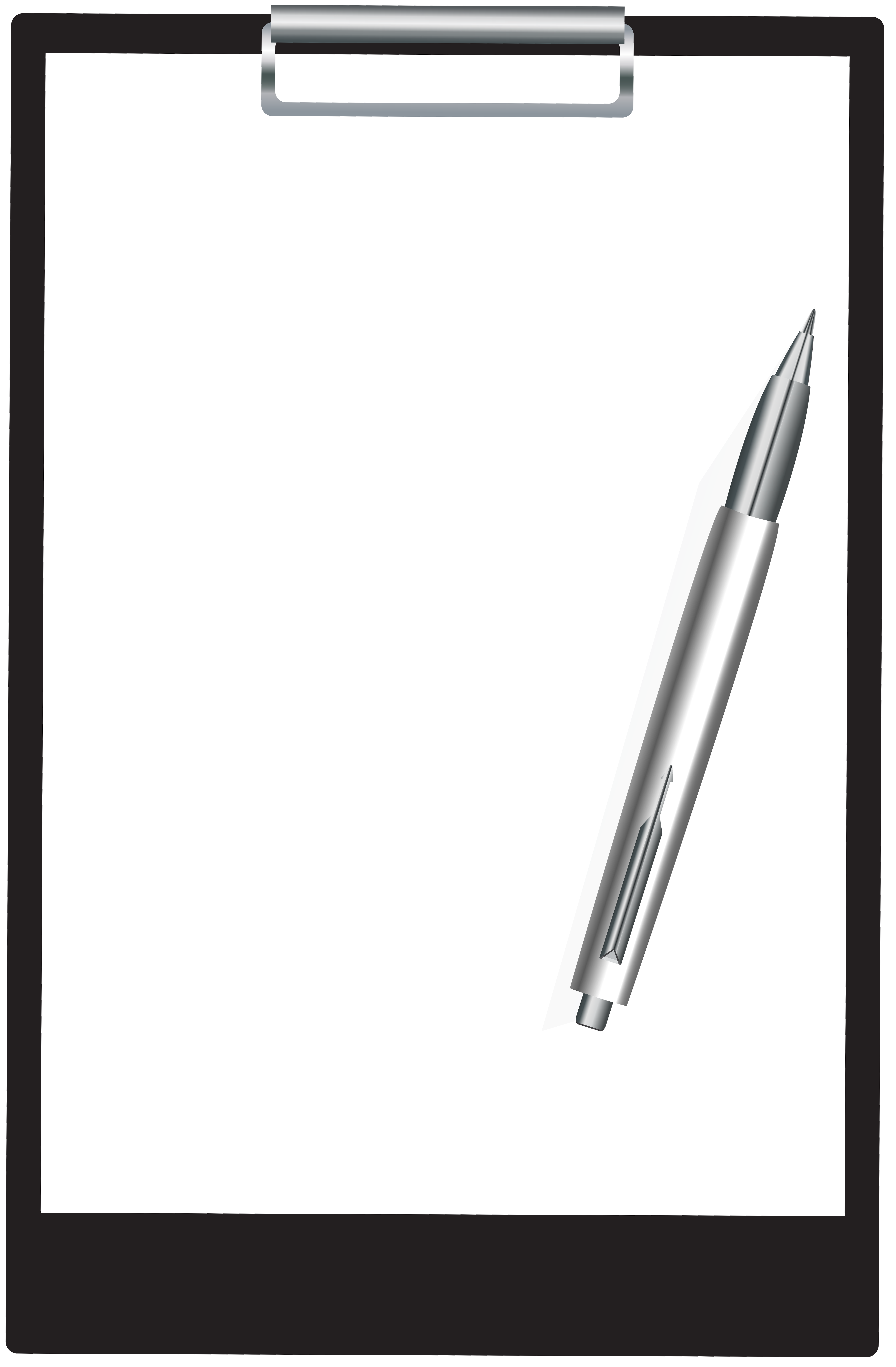 Clipboard With Pen PNG Clip Art Image.