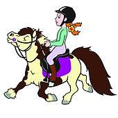 Clip Art of cartoon girl riding horse k18262086.