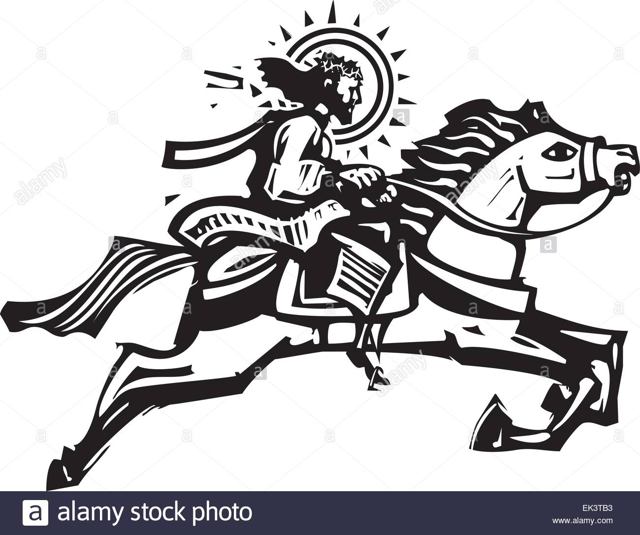 Woodcut Style image of Jesus Christ riding a leaping white horse.