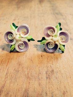 Vintage Handmade Flower Clip on Earrings & Brooch Jewelry Set Made.