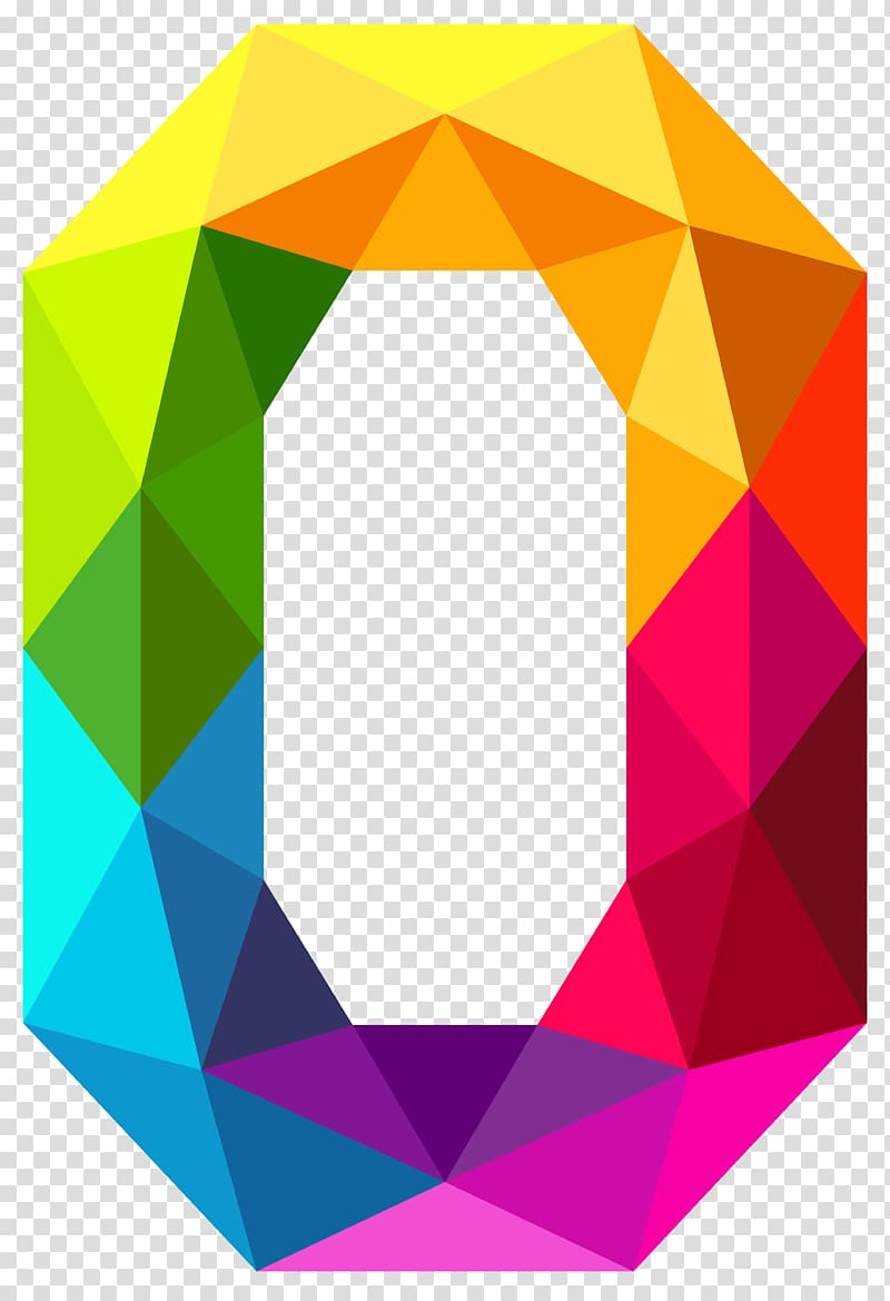 0 Number , Colourful Triangles Number Zero , multicolored.