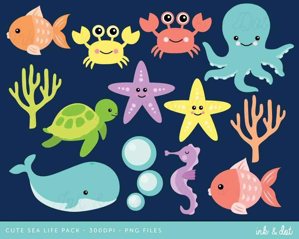 Ocean Clip Art, Nautical Clipart, Sea Life Clipart, Whale.