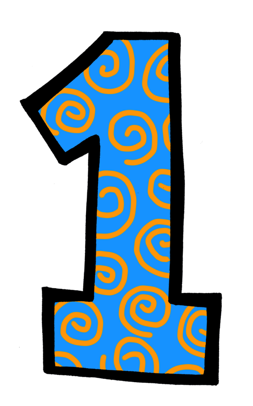 Number 1 2 Blue Clipart.