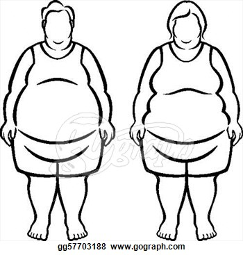 morbidly obese over 100 pounds overweight clipart drawing.
