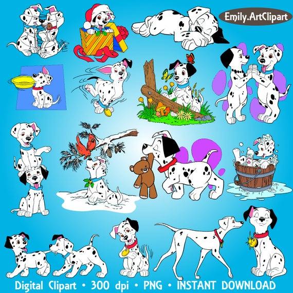 101 Dalmatians Clipart Party Disney Digital Clipart Set Clip Art  Scrapbooking Invitations Printable Digital Graphic INSTANT DOWNLOAD 300dpi.