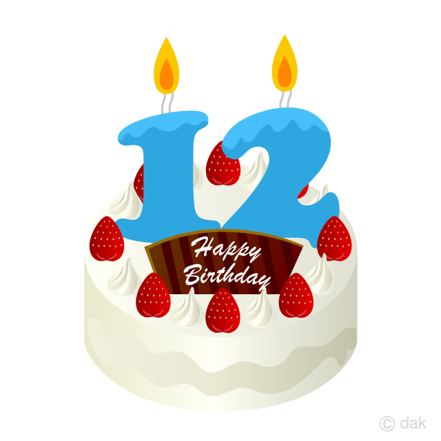 12 Years Old Candle Birthday Cake Clipart Free Picture|Illustoon.