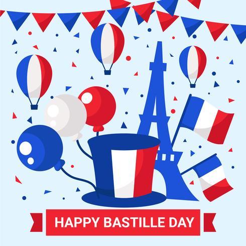 14 July Happy Bastille Day Vector.
