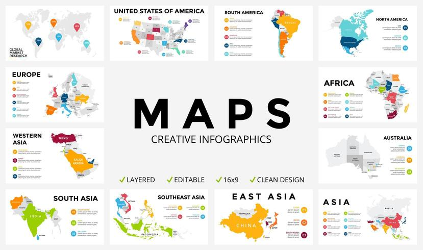 Map infographic set Global business marketing.