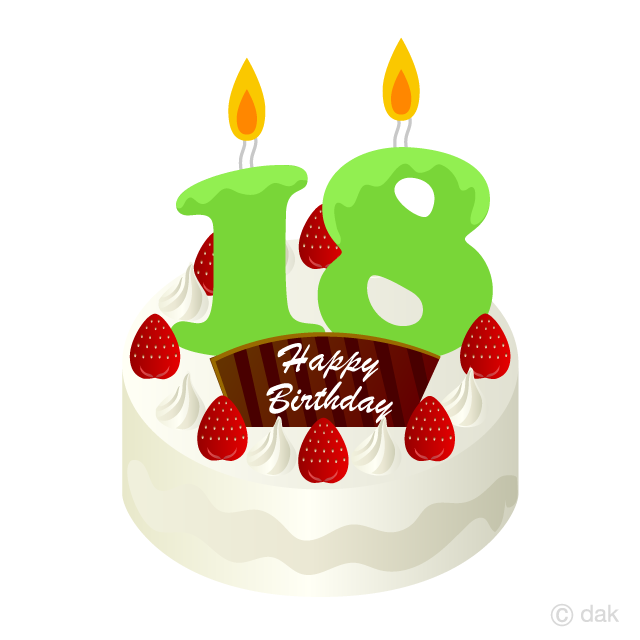 18 Years Old Candle Birthday Cake Clipart Free Picture|Illustoon.