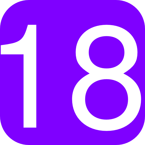 Purple, Rounded, Square With Number 18 Clip Art at Clker.com.