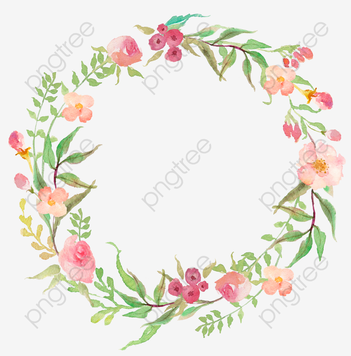Drawing Circular Wreath 18, Flower, Watercolor, Ring PNG Transparent.