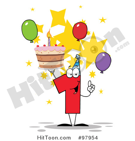 Number One Clipart #97954: Number One Holding up a First Birthday.