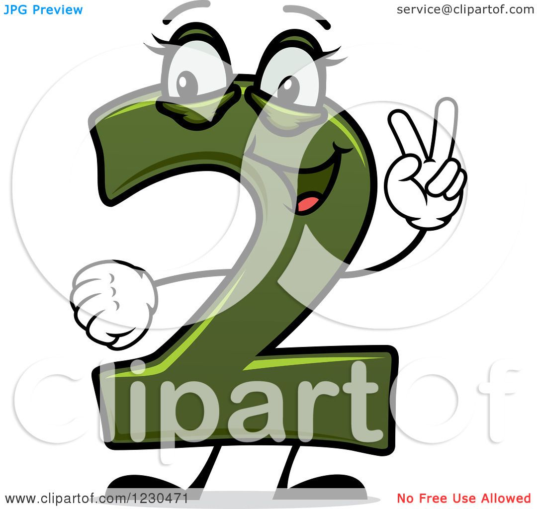 Clipart of a Happy Green Number Two Character Holding up 2 Fingers.