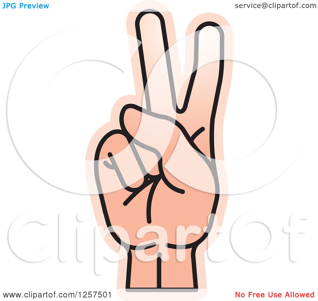 Clipart of a Counting Hand Holding up Two Fingers, 2 in Sign.
