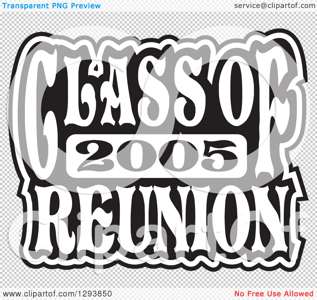 Clipart of a Black and White Class of 2005 High School Reunion.