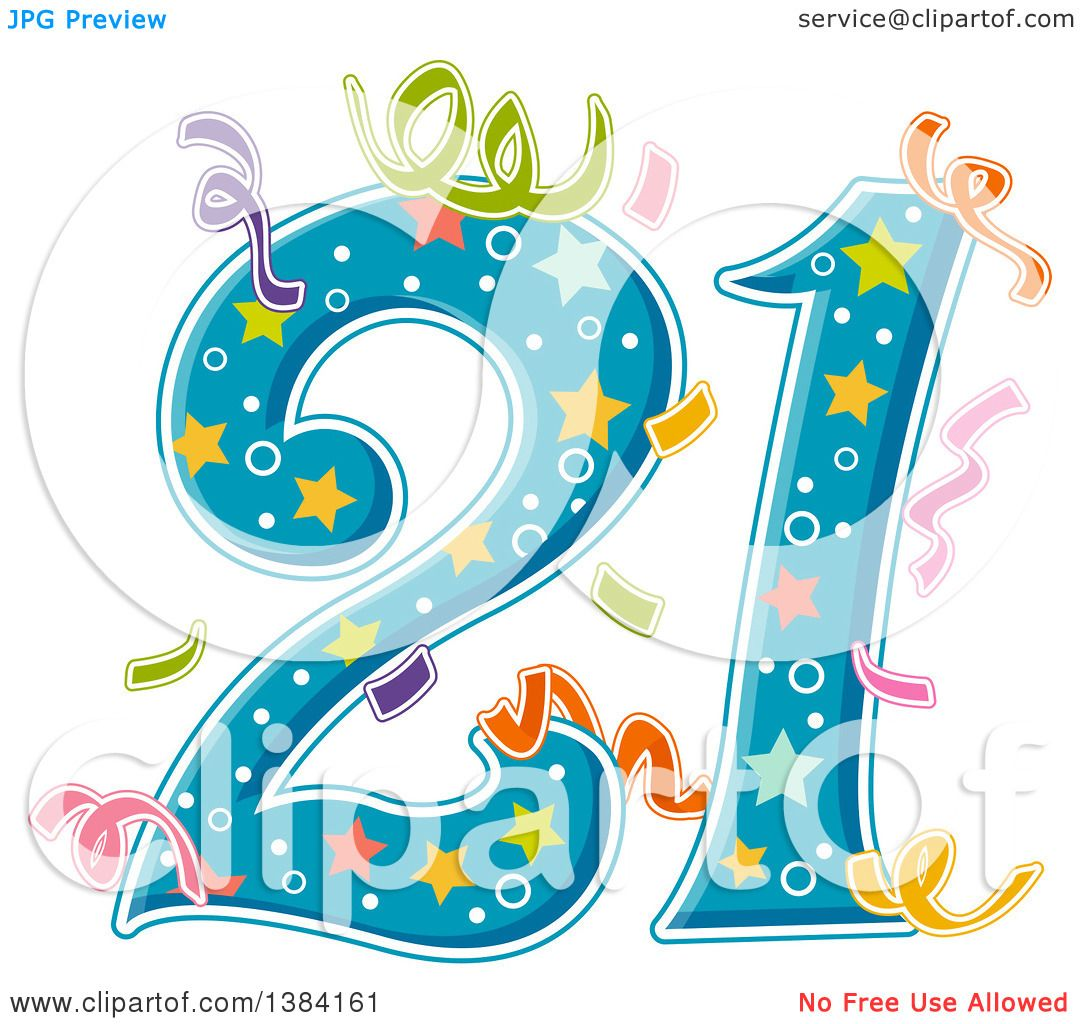 Clipart of a Number 21 with Party Confetti.