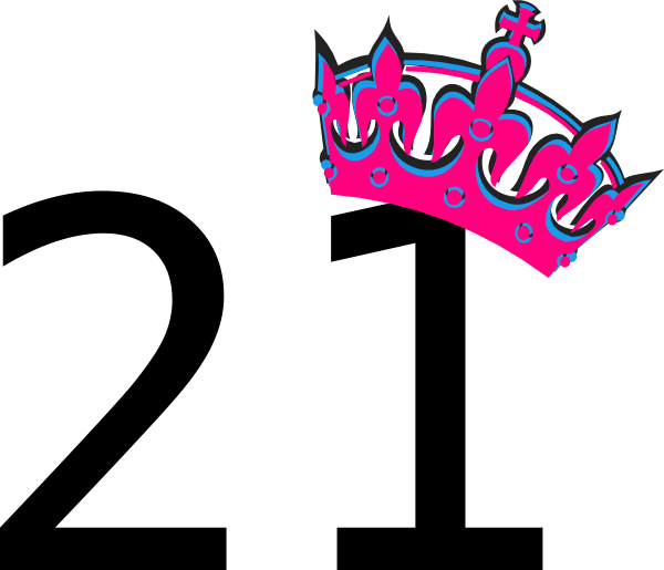 Pink Tilted Tiara And Number 21 SVG Clip arts download.