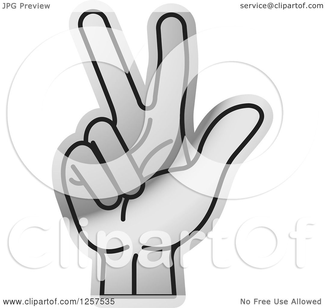 Clipart of a Silver Counting Hand Holding up 3 Fingers, Three in.