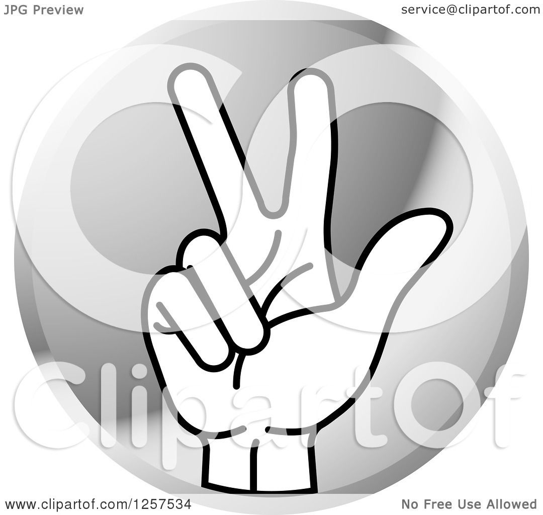 Clipart of a Round Silver Icon of a Counting Hand Holding up 3.
