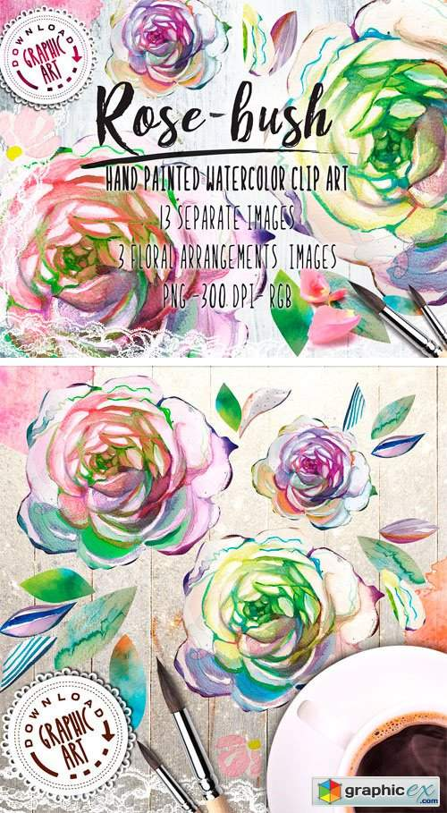 Watercolor Clipart; Rose Wreath » Free Download Vector Stock.