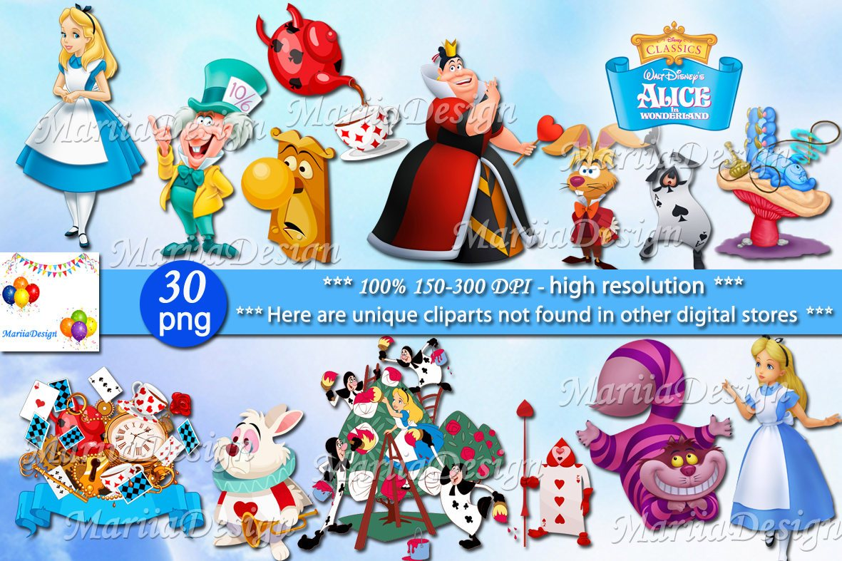 Alice in wonderland Clipart, 30 PNG.