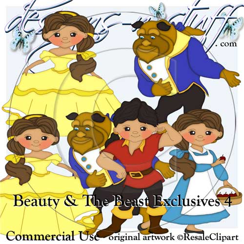 Beauty and The Beast Clipart Exclusives 4 [Resale Clipart Exclusives.