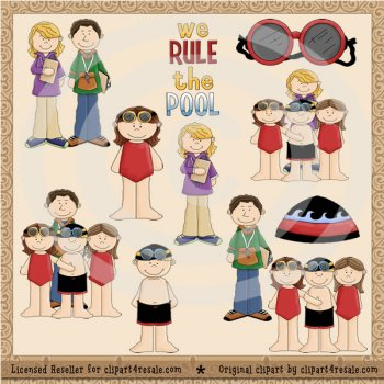 Swim Team Clip Art Exclusive by Clipart 4 Resale (Whimsy Primsy.