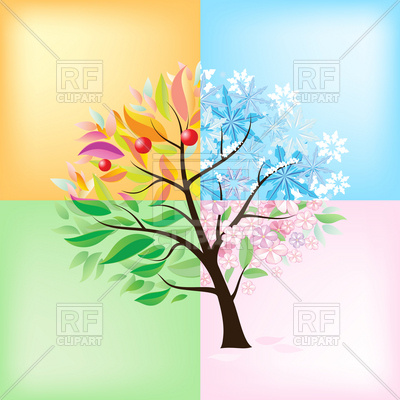 Stylized four seasons tree Vector Image.