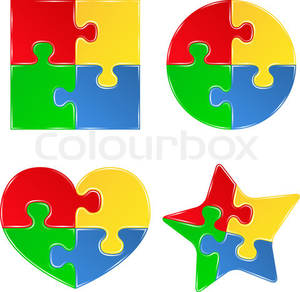 Vector Shapes Of Jigsaw Puzzle Pieces.
