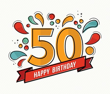Colorful happy birthday number 50 flat line design Clipart.