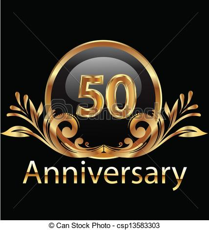 Vector Clipart of 50 years anniversary birthday in gold.