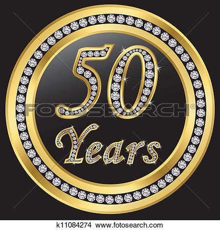 Clipart of 50 years anniversary, happy birthda k11084274.