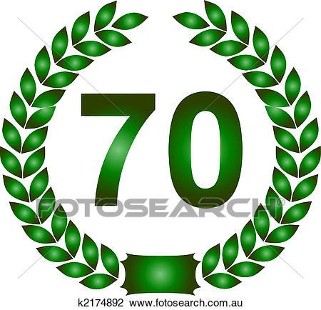 Green laurel wreath 70 years Clip Art.