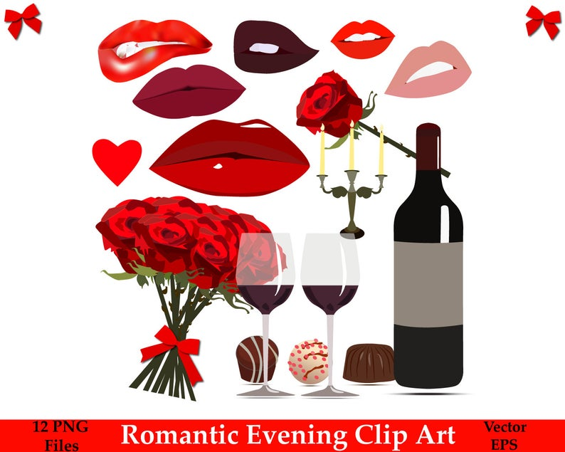 70% OFF SALE Romantic Evening Clip Art, Romantic Clipart, Love Clipart,  Vector Clipart, Heart, Lips, Wine, Roses.
