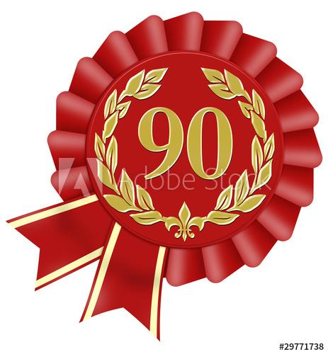 jubiläum 90 geburtstag button lorbeer schleife.