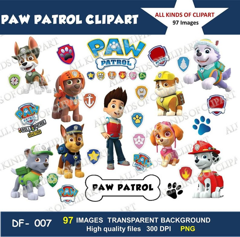 97 PAW PATROL CLIPART Images 300 Dpi, Iron On Transfers, Stickers, Decals,  Png file Format, Transparent Backgrounds.