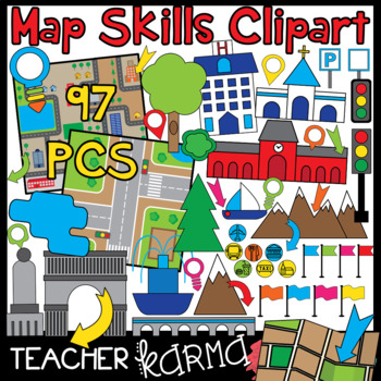 Map Skills BUNDLE of Clipart.