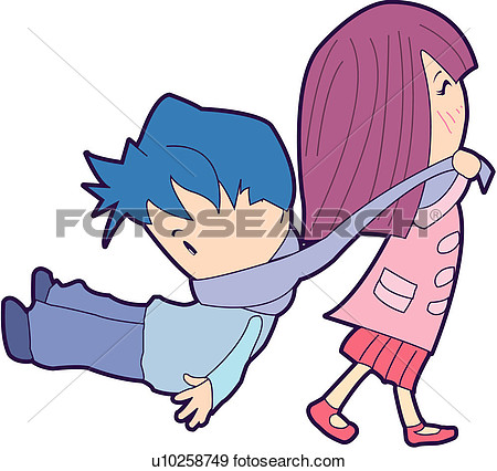 Clipart A Boy Being Dragged.