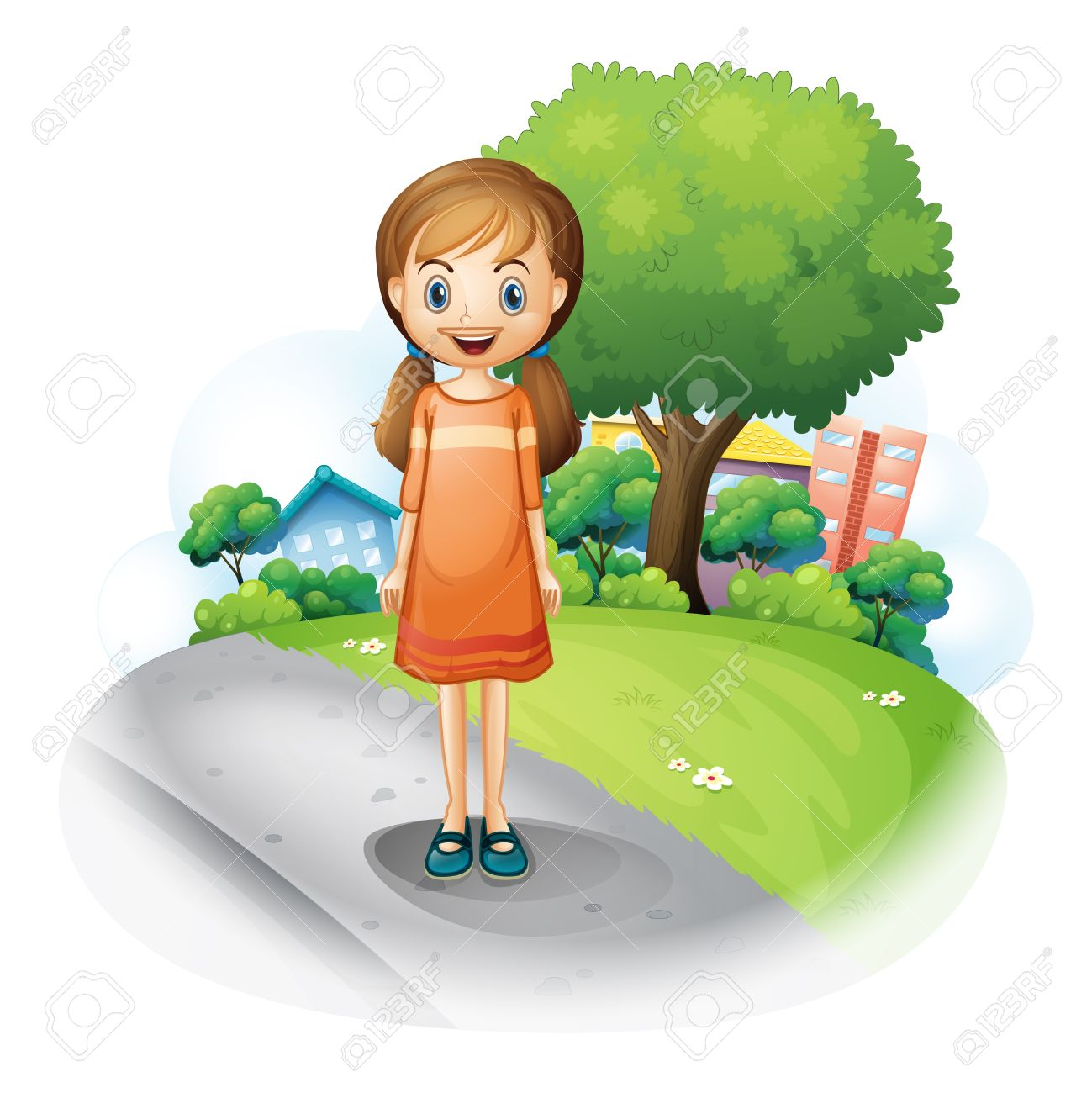 Clipart Of Girl Standing Alone.