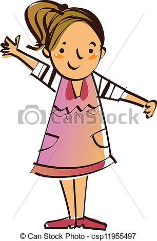 Clipart Of A Girl Standing.