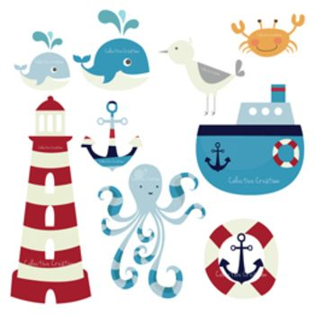 Nautical Themed Digital Clip Art Set.
